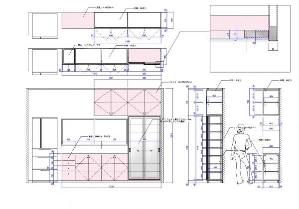 K邸キッチン収納     製作図面