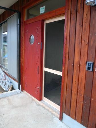 木製玄関網戸